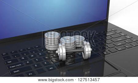 3D rendering illustration of dumbbells on black keyboard of laptop