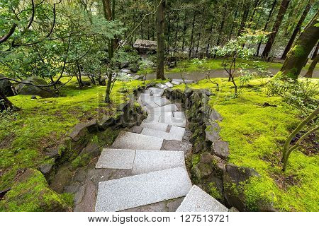 Granite Stone Steps with mossy green landscape at Japanese Garden during Spring Season