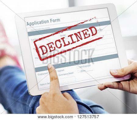 Rejected Declined Negative Document Form Concept