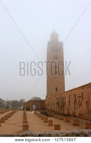 Koutoubia Mosque with it's minaret in the fog Marrakech Morocco
