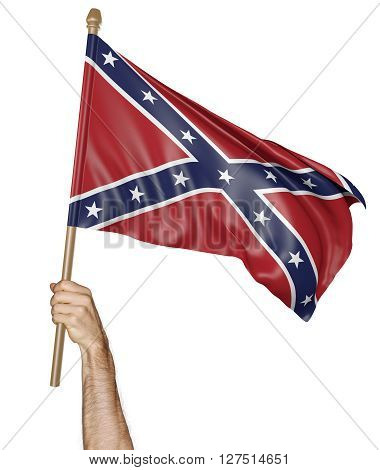 Hand proudly waving the flag of the Confederate States, 3D rendering