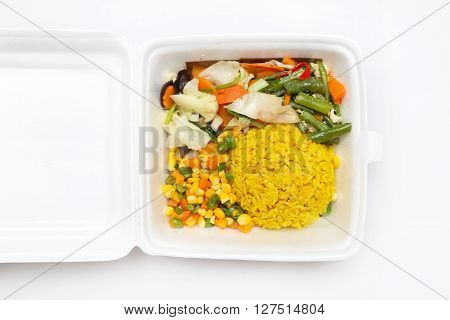 Lunch styrofoam box from fast food restaurant on white background