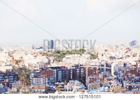 blurry image of modern town