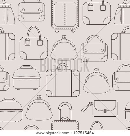 Bags. Hand bags and Luggage for travel. Seamless pattern. Vector illustration