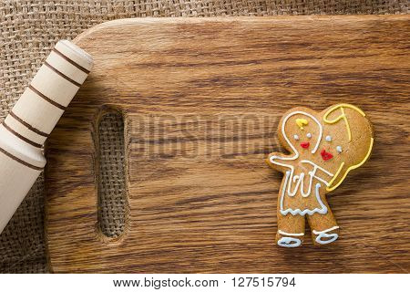 Cookies in the shape of a man with the baby mama