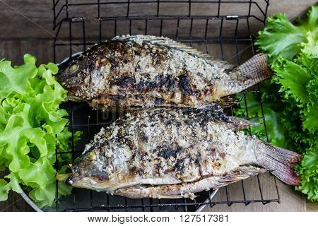 Salt Crusted Grilled Nile Tilapia Fish