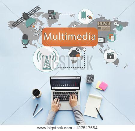 Multimedia Communication Audio Animation Concept
