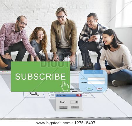 Subscribe Member Register Social Media Feed Concept