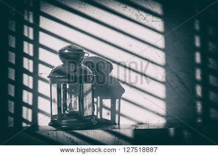 vintage kerosene oil lantern lamp. vintage style.