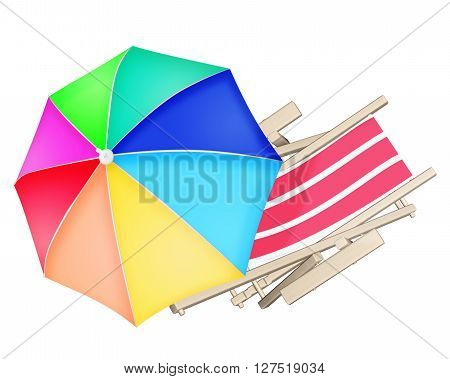 Beach Deck Chair And Colourful Umbrella Isolated On White Background.