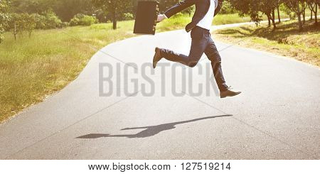 Businessman Running Jumping Aspirations Environment Concept