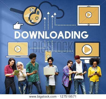 Downloading Computer Storage Cloud Technology Concept