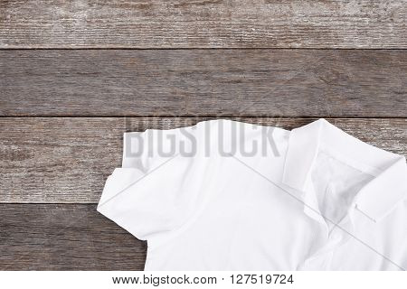 White shirt on the wooden table