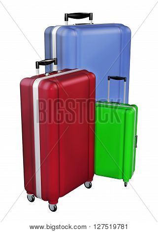 Luggages Isolated On White Background. 3D Rendering.