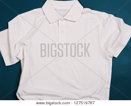 White shirt on a blue background