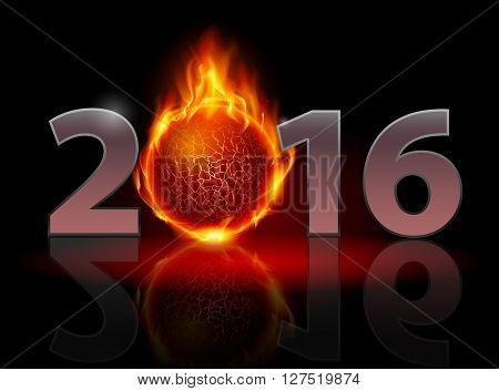New Year 2016: metal numerals with fire ball instead of zero having weak reflection
