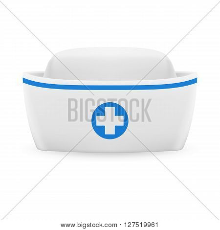 White and blue nurse cap on white background