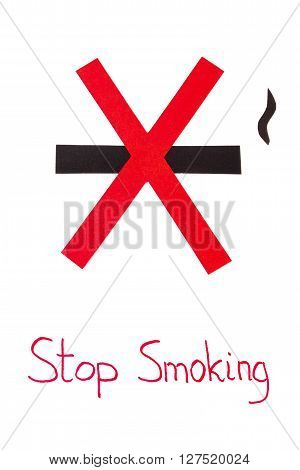 Red no smoking sign made of paper with inscription stop smoking symbol of prohibited smoking healthy lifestyle world no tobacco day