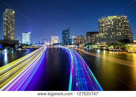 Light Effects Over Time After Sunset On Chao Phraya River In Bangkok City, Thailand.