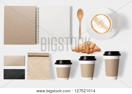 Design Concept Of Mockup Coffee Set On White Background. Copy Space For Text And Logo