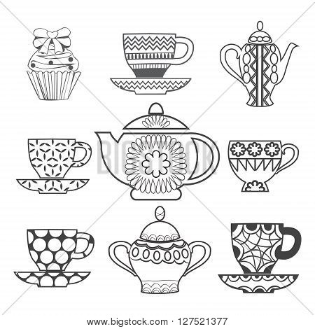 Vector Background of Tea Time Tea cups pots and Cupcake Dessert hand drawn illustration isolated on white background for coloring book page