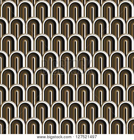 Seamless gold white and black simple art deco wave scales pattern vector.