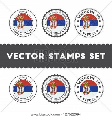 Serbian Flag Rubber Stamps Set. National Flags Grunge Stamps. Country Round Badges Collection.