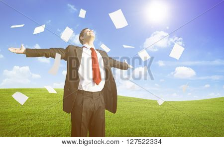 Businessman Relaxation on the Hill Concept