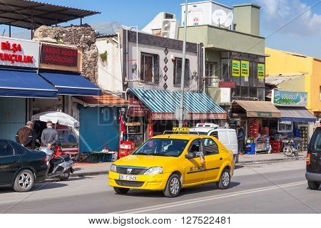 Yellow Taxi Car On The Road Of Izmir City