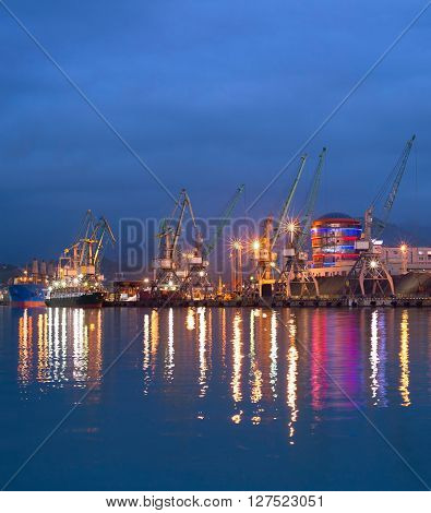 Commercial Sea Port At Dusk