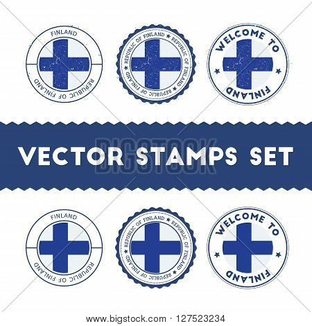 Finnish Flag Rubber Stamps Set. National Flags Grunge Stamps. Country Round Badges Collection.