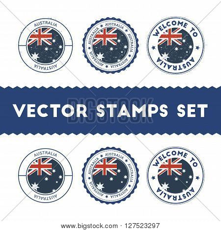 Australian Flag Rubber Stamps Set. National Flags Grunge Stamps. Country Round Badges Collection.