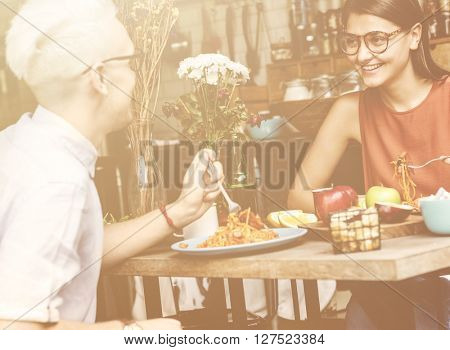 Couple Eating Food Meal Dating Romance Love Concept