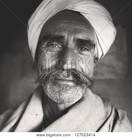 Indigenous Senior Indian Man Character Asian Concept