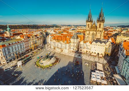 Famous scene, cityscape of Prague, Czech Republic. Towers of Church Of Our Lady Before Tyn In Old Town Square.
