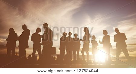 Back Lit Business People Discussion Communication Meeting Concept