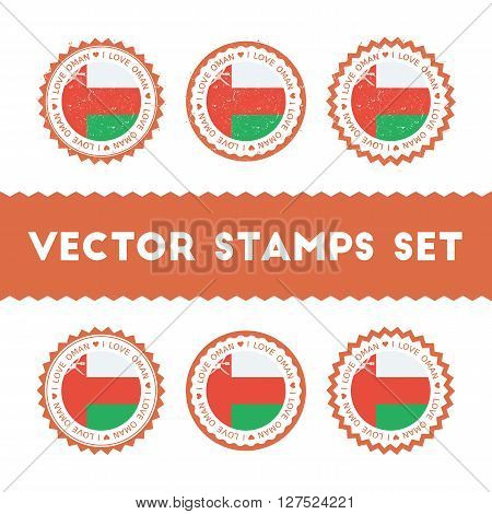 I Love Oman Vector Stamps Set. Retro Patriotic Country Flag Badges. National Flags Vintage Round Sig