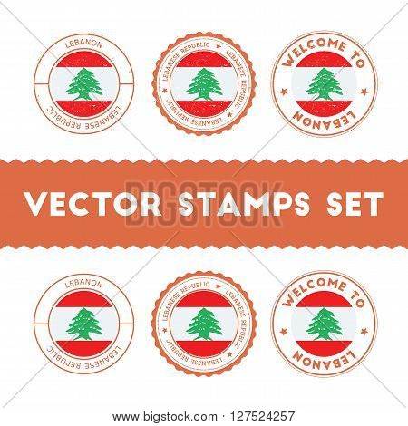 Lebanese Flag Rubber Stamps Set. National Flags Grunge Stamps. Country Round Badges Collection.