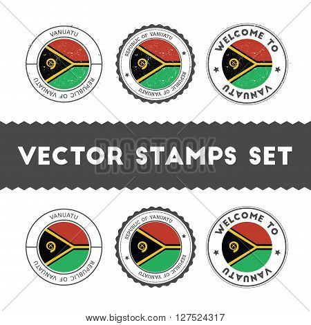 Ni-vanuatu Flag Rubber Stamps Set. National Flags Grunge Stamps. Country Round Badges Collection.