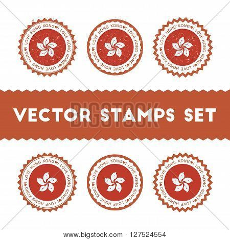 I Love Hong Kong Vector Stamps Set. Retro Patriotic Country Flag Badges. National Flags Vintage Roun