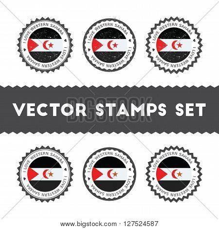 I Love Western Sahara Vector Stamps Set. Retro Patriotic Country Flag Badges. National Flags Vintage