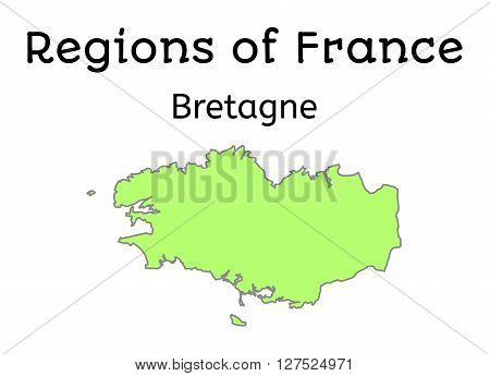France administrative map of Brittany region on white
