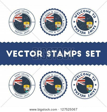 Saint Helenian Flag Rubber Stamps Set. National Flags Grunge Stamps. Country Round Badges Collection