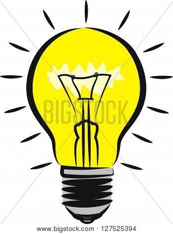 lighting bulb - vector outlines genius and idea metaphor