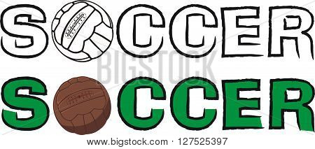 vector outlines of  vintage soccer ball with inscription