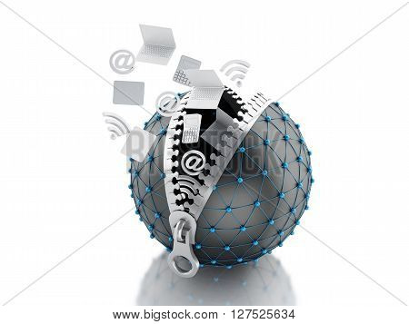 3d renderer image. Network globe with zipper open and inside internet icons. Network Communications concept. Isolated white background.