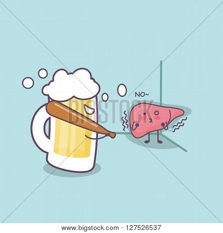 cute cartoon liver bullied by unhealthy liquor great for health care concept