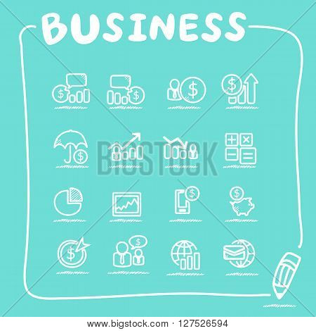 business icon set - doodle sketch  Series