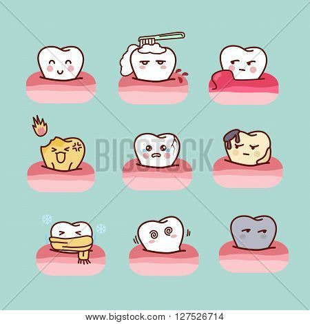 cartoon healthy and decayed tooth set great for dental care concept