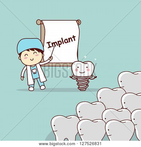 cartoon doctor or dentist teach teeth implant great for dental care concept